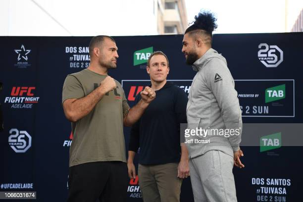 Mauricio Rua of Brazil and Tyson Pedro of Australia face off for fans and media during the UFC Fight Night Open Workouts event at Gawler Place Canopy...