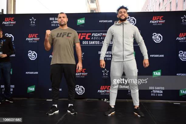 Mauricio Rua of Brazil and Tyson Pedro of Australia pose for fans and media during the UFC Fight Night Open Workouts event at Gawler Place Canopy -...