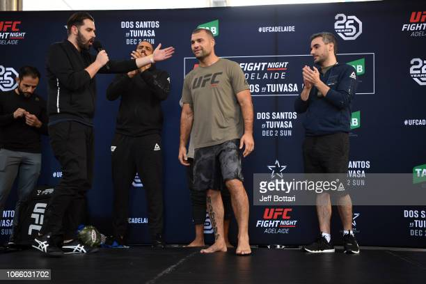 Mauricio Rua of Brazil performs an open workout for fans and media during the UFC Fight Night Open Workouts event at Gawler Place Canopy - Rundle...