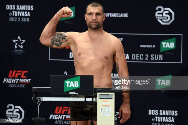 Mauricio Rua of Brazil poses on the scale during the UFC Fight Night weigh-in event at Hilton Adelaide on November 30, 2018 in Adelaide, Australia.