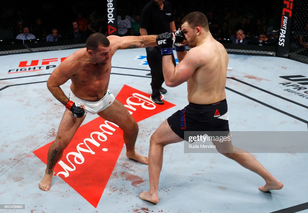 Mauricio Rua of Brazil punches Gian Villante in their light heavyweight bout during the UFC Fight Night event at CFO - Centro de Formaco Olimpica on March 11, 2017 in Fortaleza, Brazil.