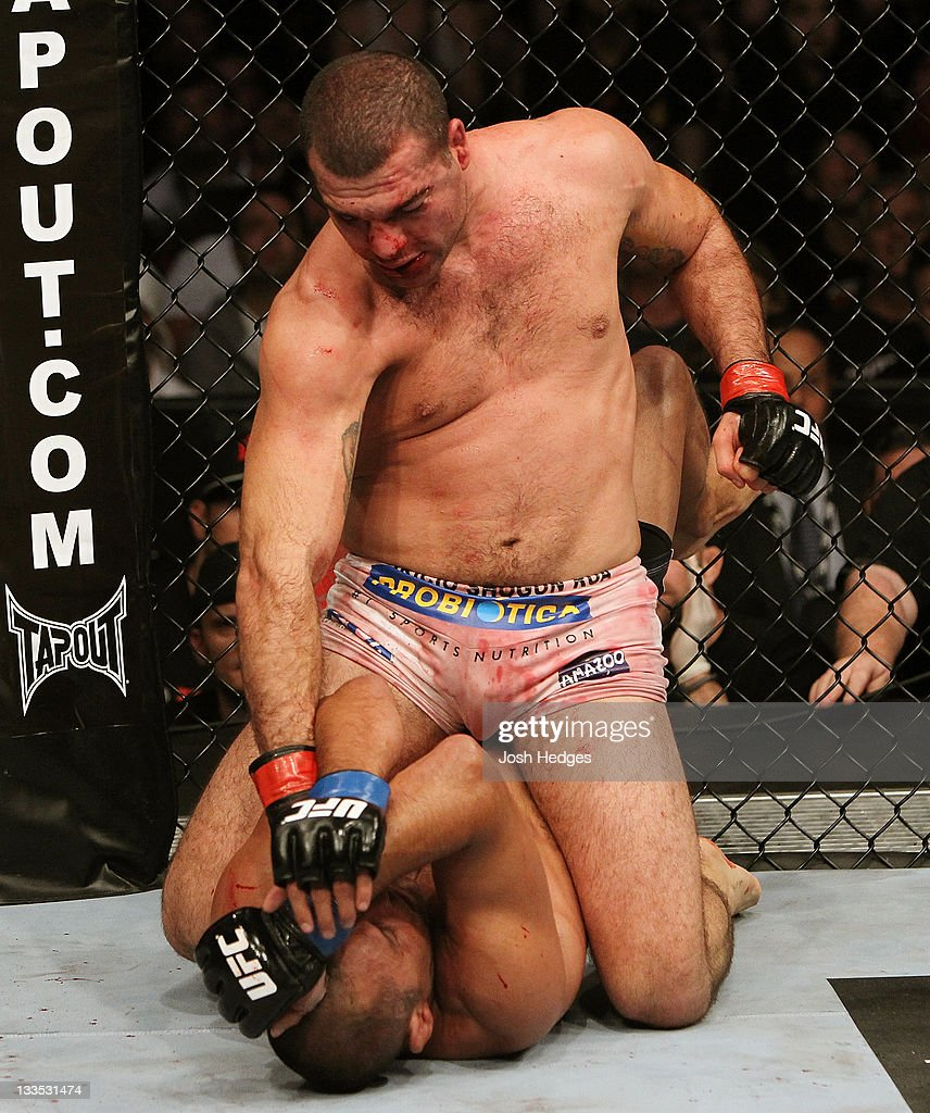 Mauricio Rua (top) sits on top of Dan Henderson during an UFC Light Heavyweight bout at the HP Pavillion on November 19, 2011 in San Jose, California.