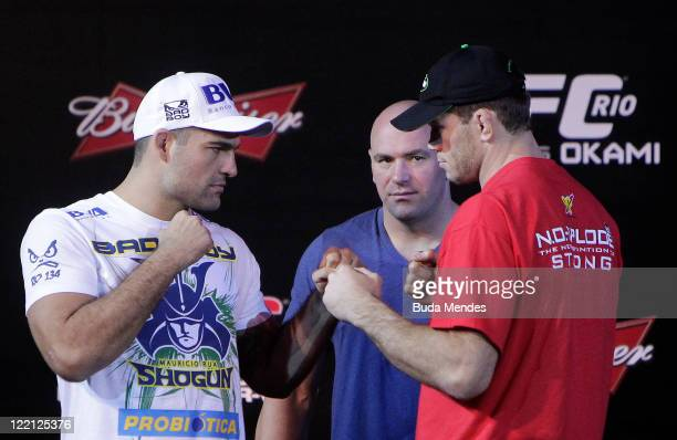 Mauricio Shogun and Forrest Griffin at the UFC Rio Pre-Fight Press Conference at Copacabana Palace on August 25, 2011 in Rio de Janeiro, Brazil.