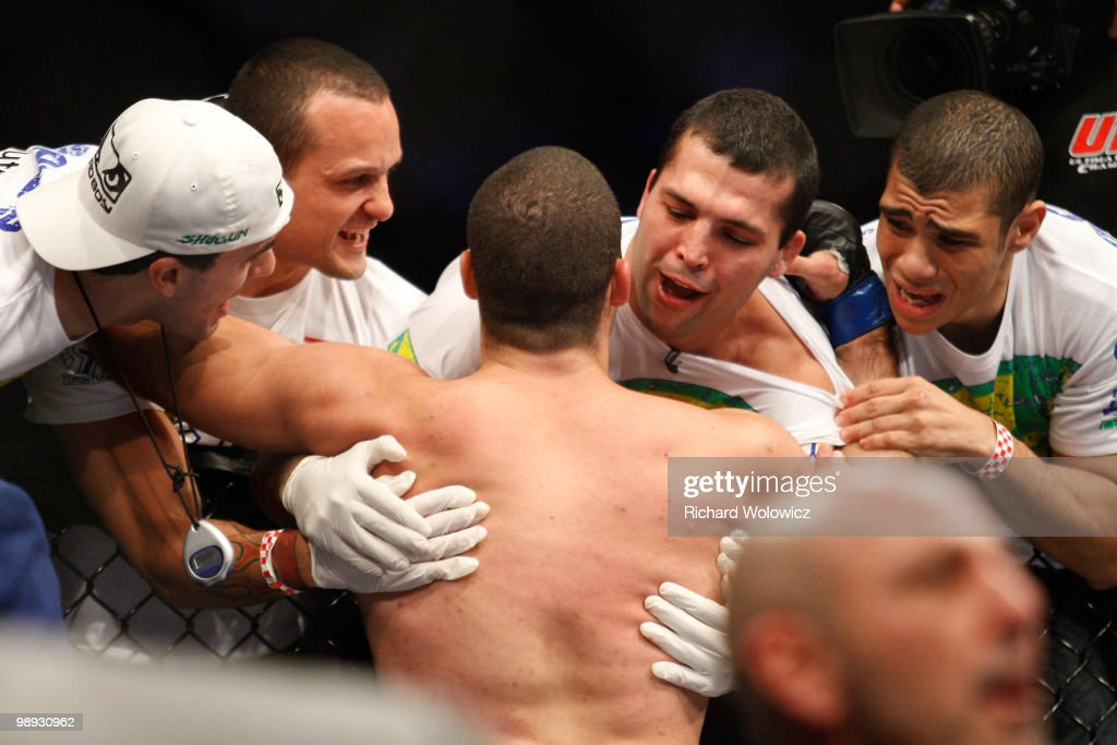 Mauricio 'Shogun' Rua celebrates his victory over Lyoto Machida with his team in their light heavyweight bout at UFC 113 at Bell Centre on May 8, 2010 in Montreal, Quebec, Canada.