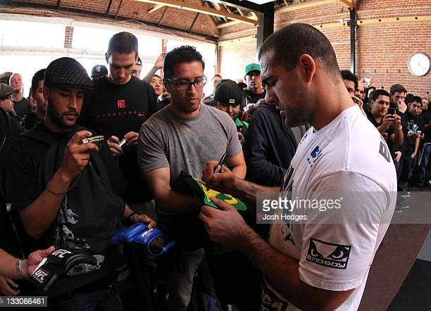 """Mauricio """"Shogun"""" Rua greets fans after working out during the UFC 139 open workouts at the Heroes Martial Arts Gym on November 16, 2011 in San Jose,..."""