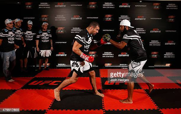 Mauricio Shogun Rua holds an open training session for media at the Serhs Natal Grand Hotel on March 21 2014 in Natal Brazil