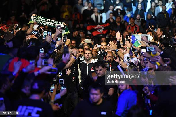 Mauricio 'Shogun' Rua of Brazil enters the arena before facing Corey Anderson in their light heavyweight bout during the UFC 198 event at Arena da...