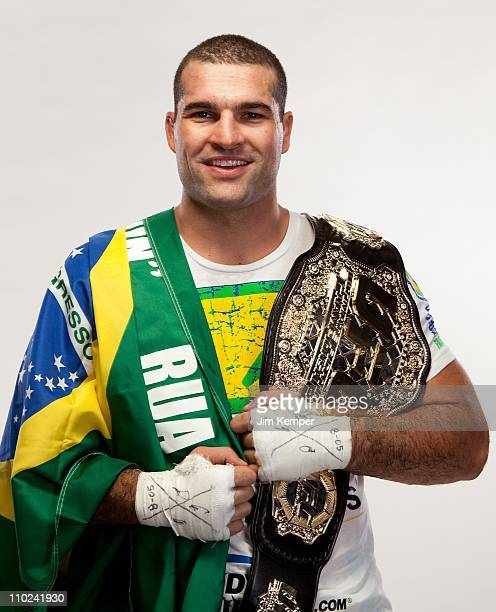 """Mauricio """"Shogun"""" Rua poses for a portrait backstage after defeating Lyoto Machida at UFC 113 on May 8, 2010 in Montreal, Quebec, Canada."""