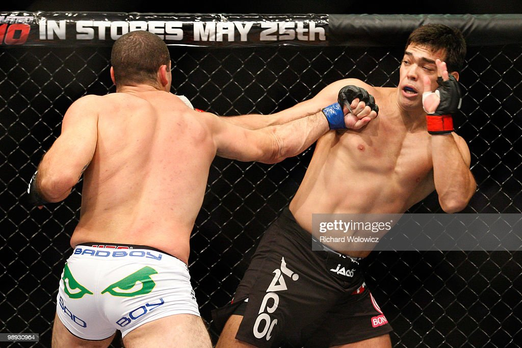 Mauricio 'Shogun' Rua (L) punches Lyoto Machida in their light heavyweight bout at UFC 113 at Bell Centre on May 8, 2010 in Montreal, Quebec, Canada.