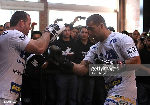 """Mauricio """"Shogun"""" Rua works out for the fans and media during the UFC 139 open workouts at the Heroes Martial Arts Gym on November 16, 2011 in San..."""