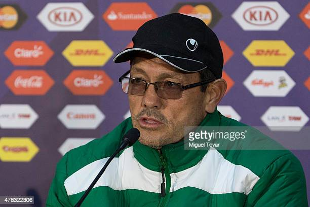 Mauricio Soria coach of Bolivia talks during a press conference at German Becker Stadium on June 20 2015 in Temuco Chile Peru will face Colombia on...