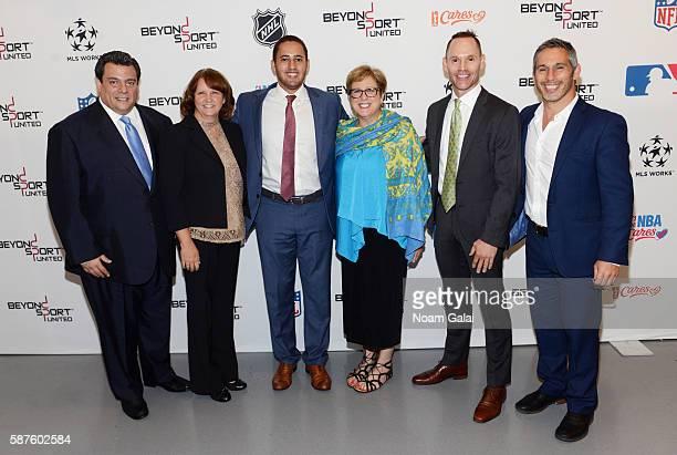 Mauricio Sulaiman Cyndi Court Svante Myrick Caryl M Stern Stephen Bognar and Nick Keller attend Beyond Sport United 2016 at Barclays Center on August...