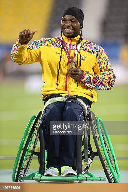 Mauricio Valencia of Colombia poses with his silver after the men's javelin F34 final during the Evening Session on Day One of the IPC Athletics...