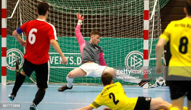 Maurics Lange of Eppingen against goalkeeper Justin Strauch of Walheim during the DFB Indoor Football match between on March 25 2018 in Gevelsberg...