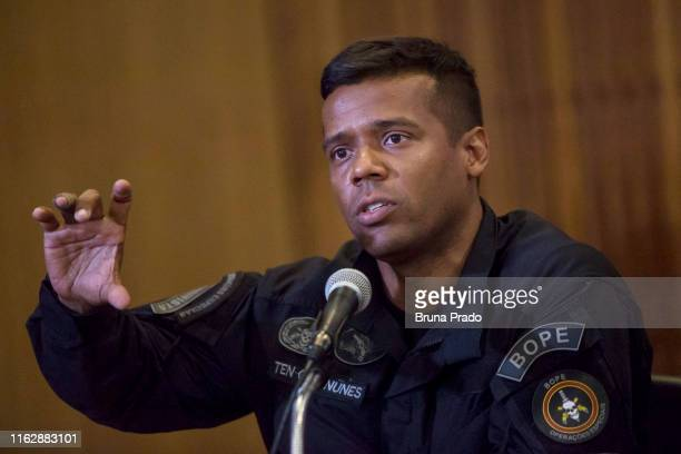 Maurilio Nunes Commander of the Special Police Operations Battalion of the State of Rio de Janeiro speaks at a press conference regarding the police...