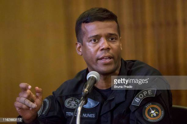 Maurilio Nunes Commander of the Special Police Operations Battalion of the State of Rio de Janeiro speaks during a press conference regarding the...