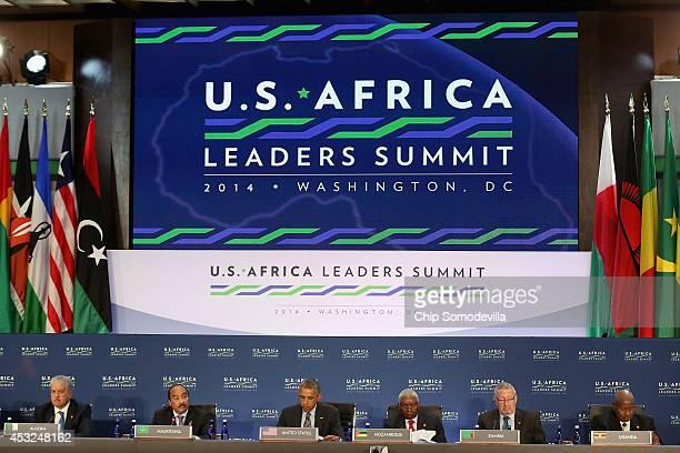 Mauritania President Mohamed Ould Abdel Aziz makes opening remarks as Prime Minister of Algeria Abdelmalek Sellal US President Barack Obama President...
