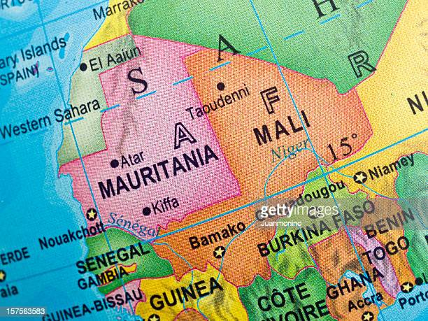 モーリタニア・マリマップ - ブルキナファソ ストックフォトと画像