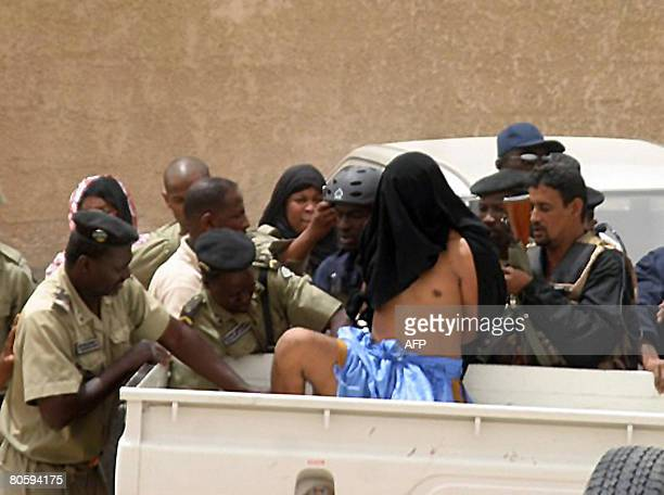 Mauritanian police authorities arrest in Nouakchott on April 10 2008 Maarouf Ould Haiba one of three suspects in the December 24 killings of the four...