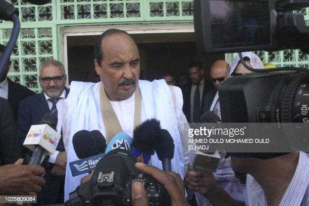 Mauritanian President Mohamed Ould Abdel Aziz gives a press point after casting his vote on September 1 2018 at a polling station in Nouakchott for...