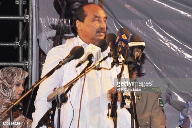 Mauritanian President Mohamed Ould Abdel Aziz speaks during a rally ahead of the constitutional referendum on scrapping the senate and changing the...