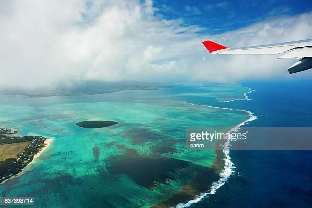 Mauritius beach island aerial view, beautiful colours