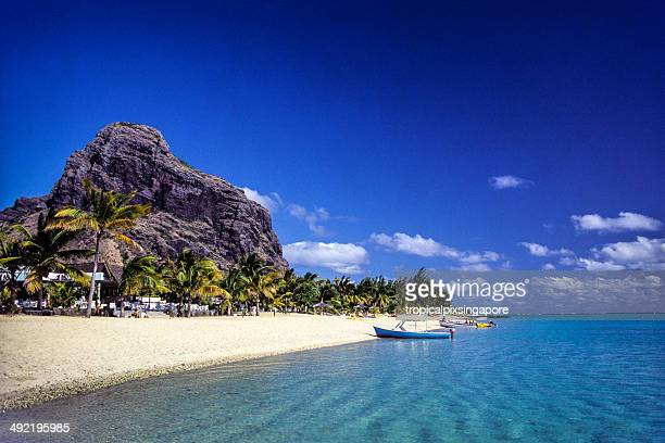 mauritius, black river province, beach at le morne. - mauritius stock photos and pictures