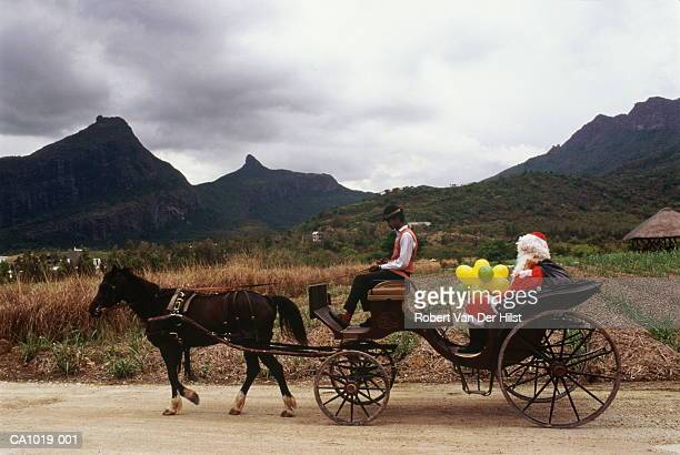 Mauritius, Domaine Les Pailles, Father Christmas in carriage