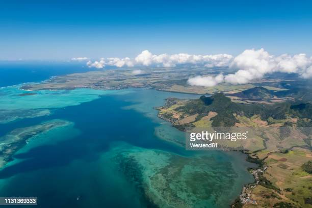 mauritius, indian ocean, aerial view of east coast, mahebourg and island ile aux aigrettes - nature reserve stock pictures, royalty-free photos & images