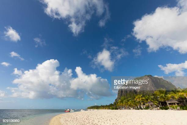 Mauritius Mascarene Islands Le Morne beach with the mountain of Le Morne Brabant behind Le Morne Brabant is a UNESCO World Heritage Site The mountain...