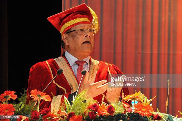 Mauritius President Rajkeswur Purryag addresses the 4th convocation at Lovely Professional University in Jalandhar on April 21 2015 AFP PHOTO /...