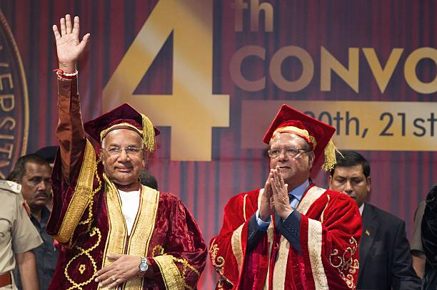 Mauritius President Rajkeswur Purryag and Governor of Punjab and Haryana Kaptan Singh Solanki gesture during the 4th convocation at Lovely...