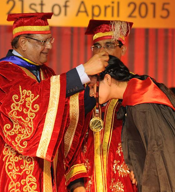 Mauritius president Rajkeswur Purryag giving a gold medal during the 4th convocation at Lovely Professional University on April 20 2015 in Jalandhar..