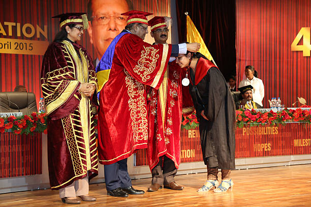 Mauritius president Rajkeswur Purryag giving gold medal during the 4th convocation at Lovely Professional University on April 20 2015 in Jalandhar...