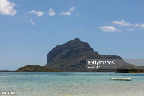 Mauritius, South Coast, Indian Ocean, Le Morne with Mountain Le Morne Brabant, boat