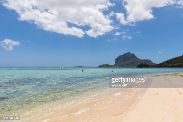 Mauritius, South Coast, Le Morne with Mountain Le Morne Brabant, beach