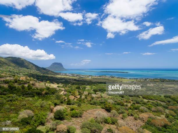 Mauritius, View from Chamarel View Point to West Coast,Island Ile aux Benitiers, Le Morne with Mountain Le Morne Brabant, Aerial view