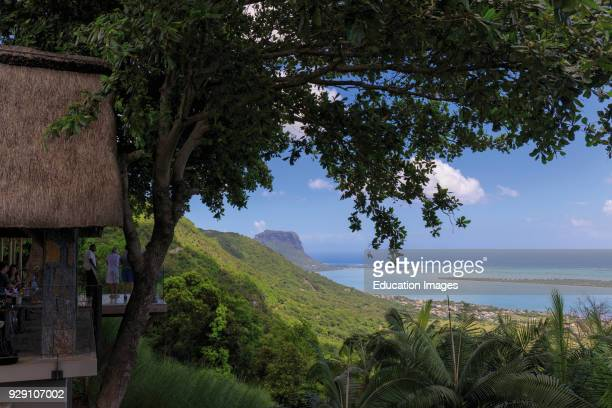 Mauritius View to coast from terrace of Restaurant le Chamarel Le Morne Brabant seen on the left