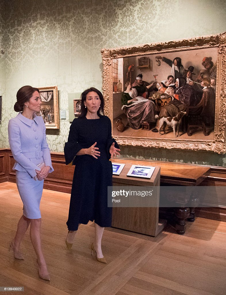 Her Royal Highness The Duchess of Cambridge  will visited the Mauritshuis  The visit was planned to coincide with the exhibition  At Home in Holland: Vermeer and his contemporaries from the Royal Collection, : News Photo