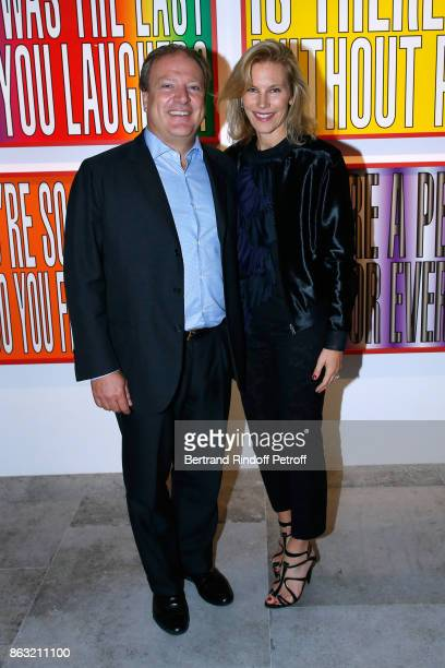 Maurizio Borletti and his wife Grace attend the Art Exhibition Reflexion Redux of Benjamin Millepied and Barbara Kruger at Studio des Acacias on...