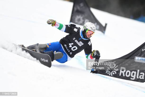 Maurizio Bormolini of Italy competes during the final race of the FIS World cup Parallel Giant Slalom in Rogla
