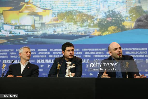 Maurizio Braucci Claudio Giovannesi and Roberto Saviano winner of the Silver Bear for Best Screenplay attend the award winners press conference...