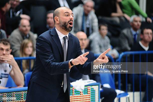 Maurizio Buscaglia head coach of Dolomiti Energia looks over during the match of LegaBasket between Aquila Dolomiti Energia Trento and Virtus...