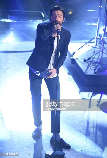 Maurizio Carucci from Ex Otago on stage during the second night of the 69th Sanremo Music Festival at Teatro Ariston on February 06 2019 in Sanremo...