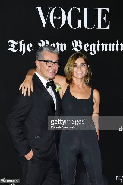Maurizio Cattelan and Carine Roitfeld attend the Vogue Italia 'The New Beginning' Party during Milan Fashion Week Spring/Summer 2018 on September 22...