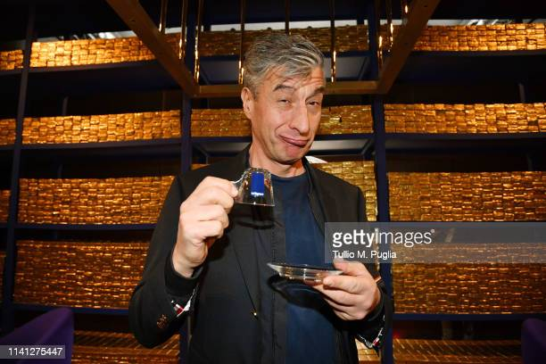 Maurizio Cattelan attends Golden Lunch by Davide Oldani on April 08 2019 in Milan Italy