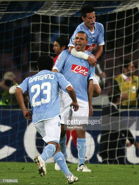 Maurizio Domizzi of Napoli celebrates scoring a penalty with team mates during the Serie A match between Juventus and Napoli at San Paolo stadium...