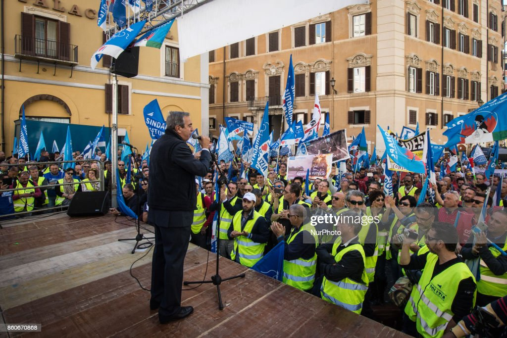 Maurizio Gasparri during the Protest in Piazza Montecitorio of the police unions Sap, Sappe and Conapo, against the government to ask for an extraordinary plan of hirings and a dignified contractual increase for the law enforcement, in Rome, Italy, 12 October 2017