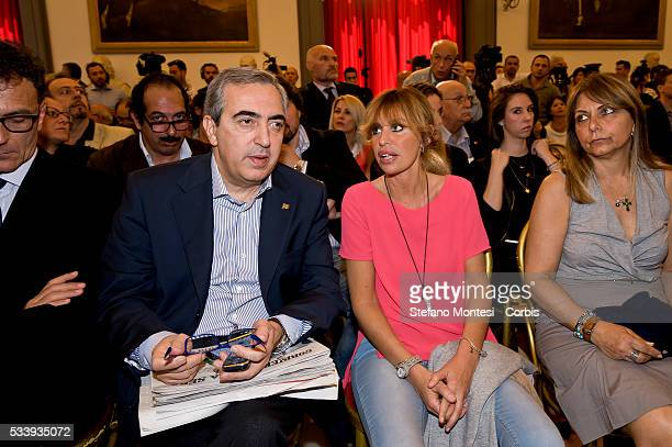 Maurizio Gasparri senator of Forza Italy and Alessandra Mussolini candidate in municipal elections in Rome with Forza Italy attend the presentation...