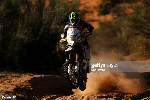 Maurizio Gerini of Italy rides a Husqvarna 450 in the Classe 21 Super Production during stage thirteen of the 2018 Dakar Rally between San Juan and...